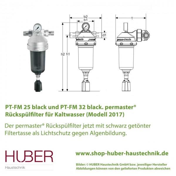 PT-FM 25 / 32 black permaster® Rückspülfilter Kaltwasser