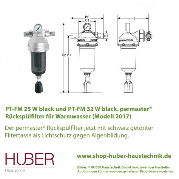 permaster® black Rückspülfilter Warmwasser PT-FM 25 W und 32 W