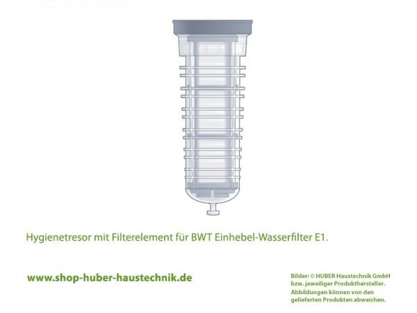 BWT Hygienetresor, bestehend aus Filtertasse und Filterelement, als Ersatzteil für E1 Einhebel-Wasserfilter, Darstellung der Lage des Filters im E1 Wasserfilter