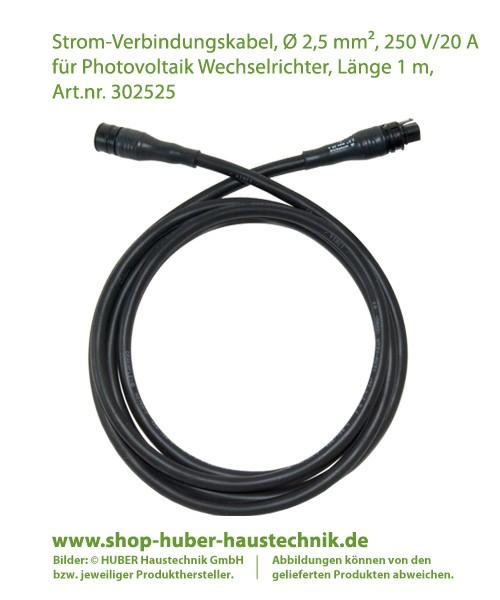 Strom-Verbindungskabel, D 2,5 mm², 250 V/20 A   für Photovoltaik Wechselrichter, Länge 1 m,