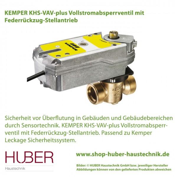 KEMPER KHS-VAV-plus Vollstromabsperrventil mit Federrückzug-Stellantrieb, DN 15, AG (G) ¾ Zoll
