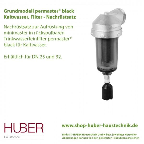 Aufrüstsatz: minimaster in rückspülbaren Trinkwasserfeinfilter permaster® black PT-FM-GM-25 sowie PT-FM-GM-32