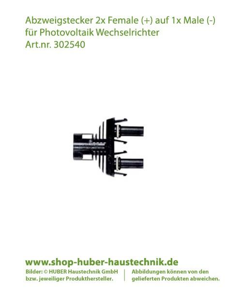 Abzweigstecker 2x Female (+) auf 1x Male (-) für Photovoltaik Wechselrichter