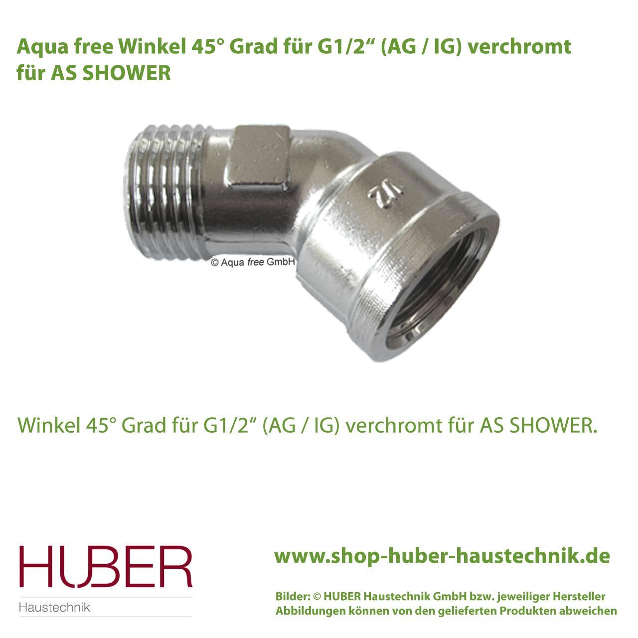 "aqua free winkel 45° grad für g1/2"" (ag / ig) verchromt | huber"