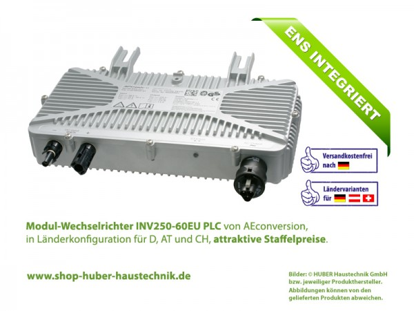 Modul-Wechselrichter INV250-60 EU PLC, 250 Watt, 60 Volt, 50 Hz, im Haustechnik-Shop von HUBER